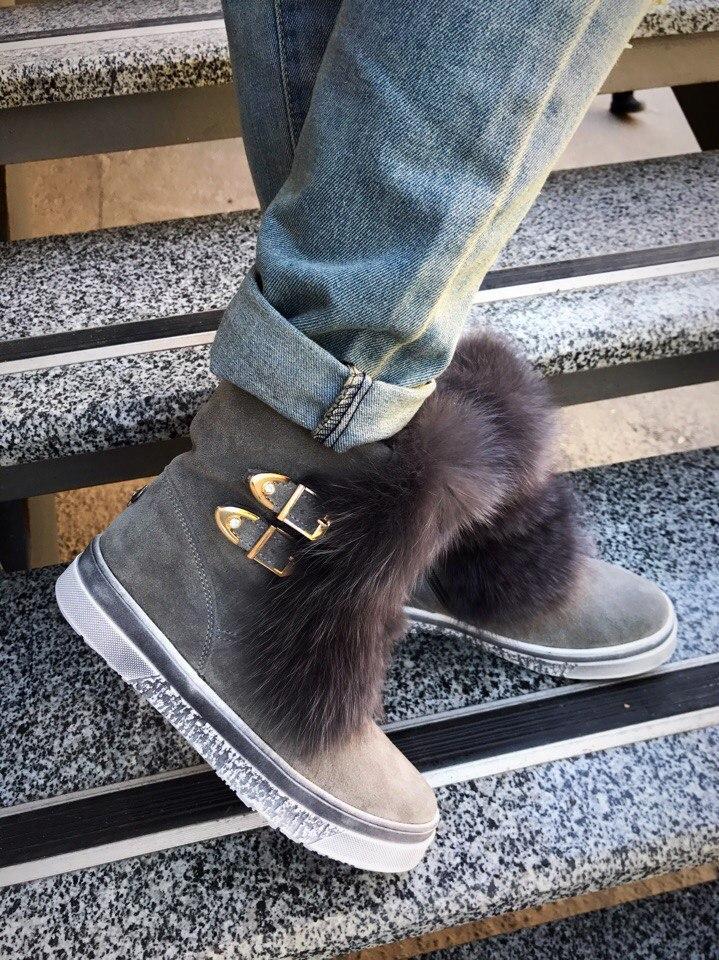 179e76132 Женские зимние ботинки из натуральной кожи и замши с опушкой из песца р.36-