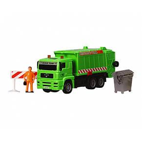 """Мусоровоз """"MAN"""" с мусорным контейнером и ограждением, 22 см (зелёный) «Dickie Toys» (3343000), фото 2"""