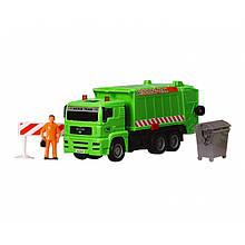 """Мусоровоз """"MAN"""" с мусорным контейнером и ограждением, 22 см (зелёный) «Dickie Toys» (3343000)"""