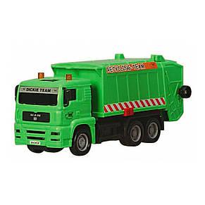 """Мусоровоз """"MAN"""" с мусорным контейнером и ограждением, 22 см (зелёный) «Dickie Toys» (3343000), фото 3"""