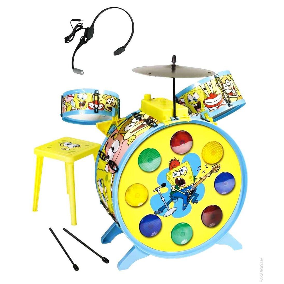 """Детский музыкальный инструмент «Simba» (9499495) барабанная установка с микрофоном """"Sponge Bob"""", 55 см"""