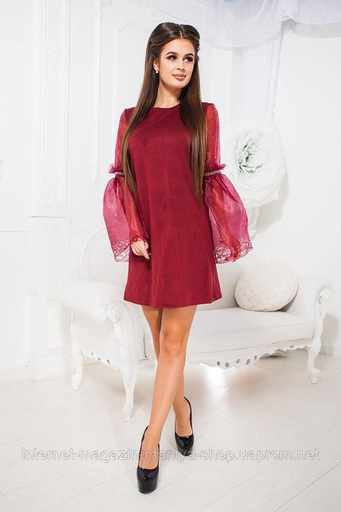 Платье женское 543 рукава прозрачные (деми)
