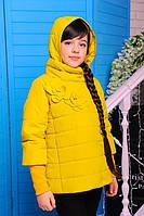 Стильная демисезонная куртка на девочку со сьемными манжетами
