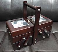 Деревянная шкатулка для рукоделия с фоторамками 453-013