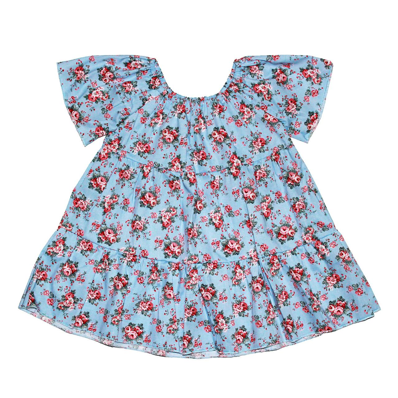 Платье Andriana Kids голубое в цветочки 6,12 мес