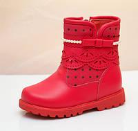 Зимние кожаные ботинки полусапожки для девочки LinShi коралловые 23-28рр