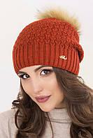 Женская шапка «Венера» с енотовым помпоном