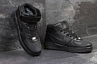 Черные высокие кроссовки Nike Air Force, зимние, женские и подростковые