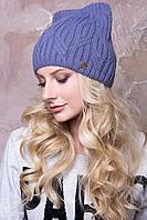 Женская шапка ушки «Мишель» Без Помпона, Внутренняя шапка из пряжи, Ушки, Светлый Джинс