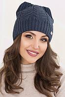 Женская шапка ушки «Габриэлла» Без Помпона, Внутренняя шапка из пряжи, Ушки, Темный Джинс