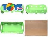 Деревянная кроватка для кукол, зеленая, К056