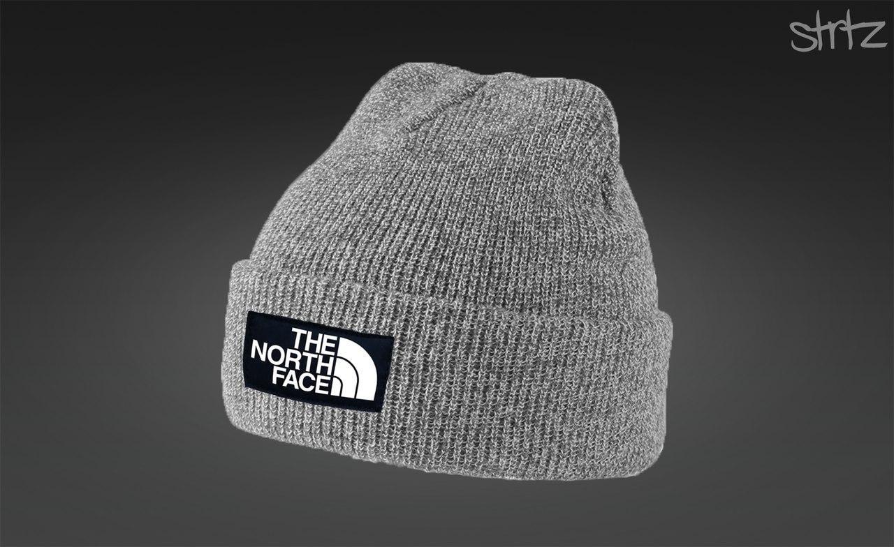 Серая зимняя шапка The North Face (норз фейс)