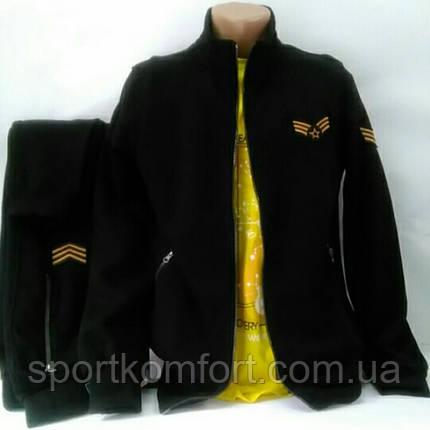 Тёплый спортивный натуральный костюм, Турция, черный, размеры  46, 48, 50., фото 2