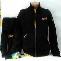 Тёплый спортивный натуральный костюм, Турция, черный, размеры  46, 48, 50.