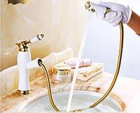 Смеситель трансформер для умывальника Aquaroom белый кран для раковины в ванную в душ