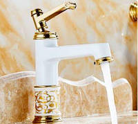 Смеситель для умывальника Aquaroom белый кран для раковины в ванную в душ