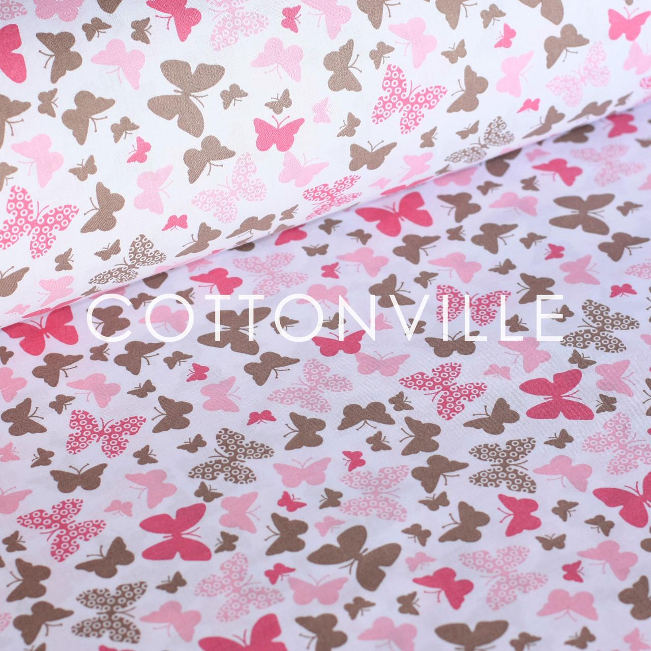 ✁ Отрезы хлопковой ткани Мотыльки коричнево-розовые