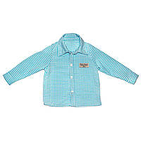 Дизайнерская рубашка 9,12 мес. Andriana Kids для мальчика голубого цвета