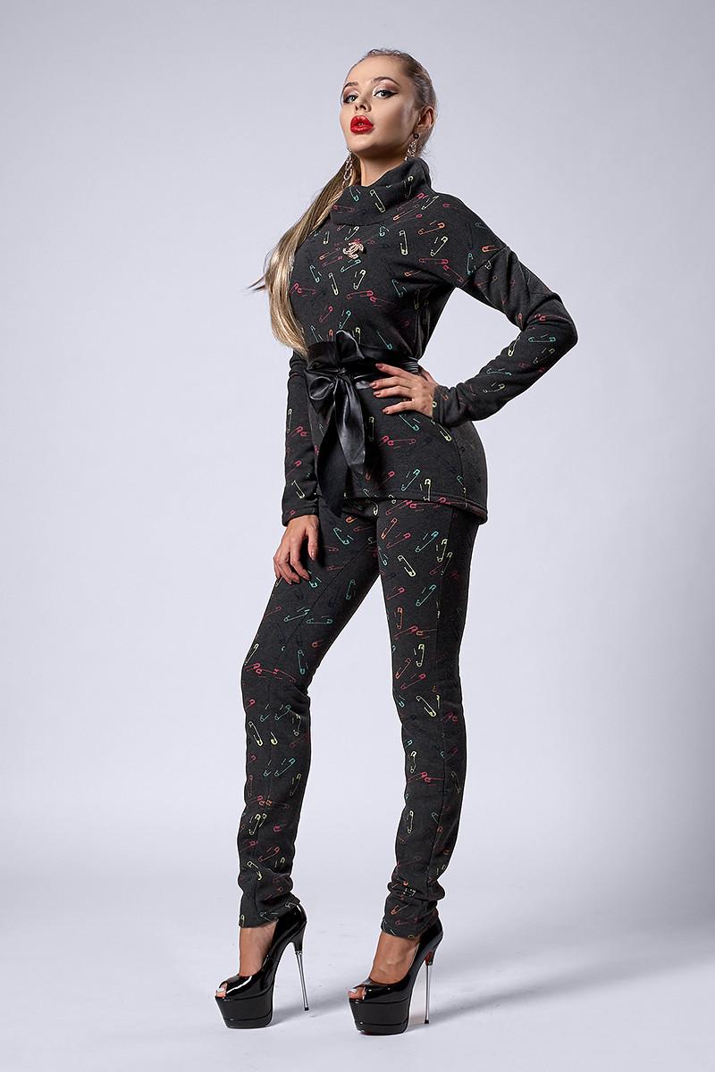 Костюм мод №300-5, размеры 46, булавка -серая, фото 1