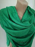 Платок Louis Vuitton бренд Луи Виттон зеленый цвет monogram реплика шерсть шелк 140*150 см