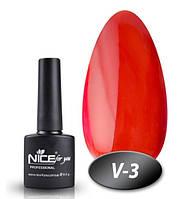Витражный гель лак Nice V-3, красный, 8.5 гр