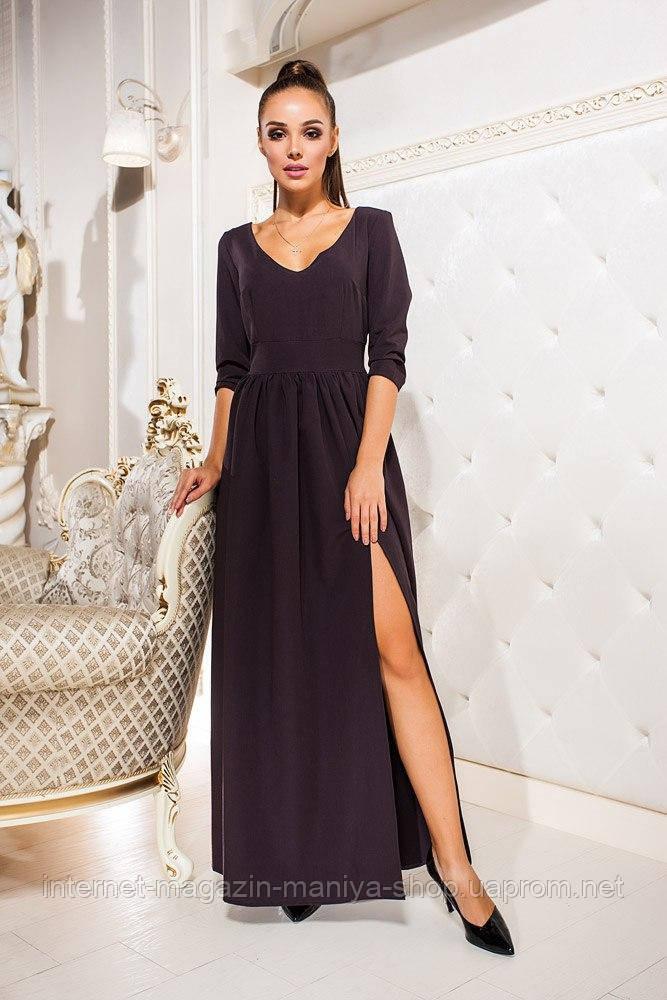 Платье женское 518 разрез в пол (деми)