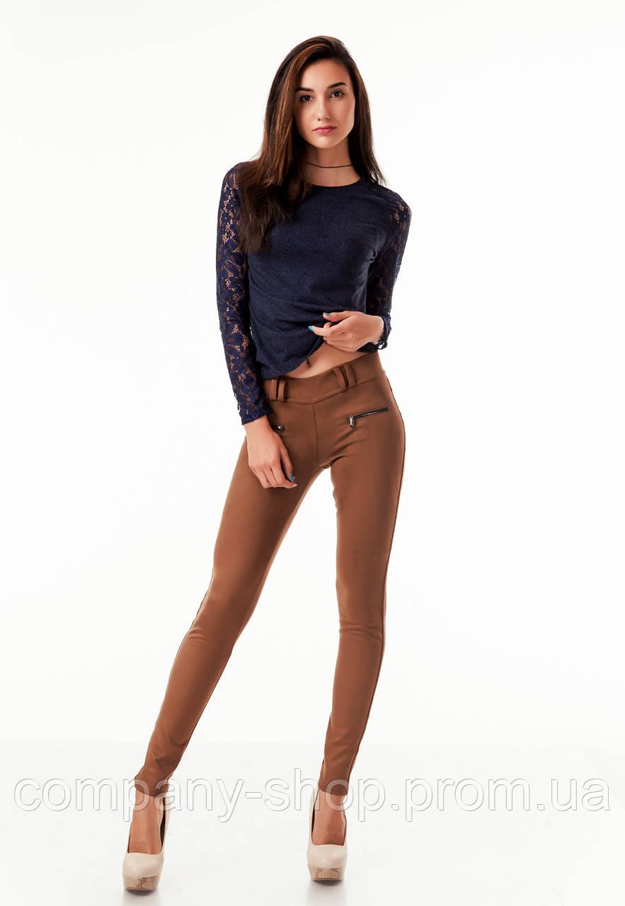 Леггинсы брюки замшевые с молниями опт. Модель L043_коричневый.