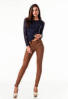 Леггинсы брюки замшевые с молниями опт. Модель L043_коричневый., фото 1