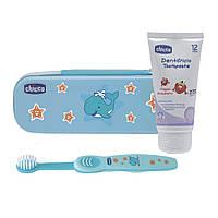 Дорожный набор Chicco : зубная щетка, зубная паста Chicco (голубой, розовый, зеленый)