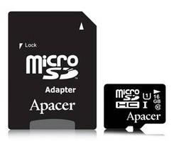 Карта памяти Apacer MicroSDHC 16GB UHS-I (Class 10)+SD adapter