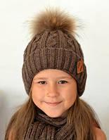 Зимняя шапка на флисе для мальчика, шоколад, натуральный балабон из меха енота (ОГ 48-52, 52-56)