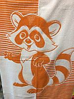 Полотенце  махровое лицевое для детей 50*90 Енот оранжевый