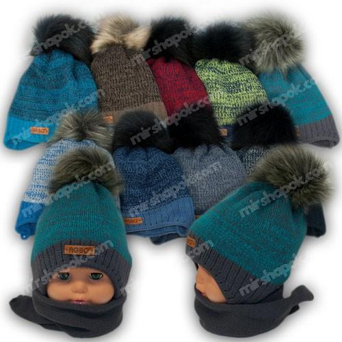 Комплект шапка с помпоном и шарф для мальчика, р. 44-46, подкладка флис, 1406