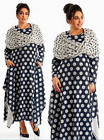 Элегантное ангоровое женское платье  большого размера с разрезами по бокам в комплекте с шарфом (снуд)