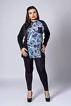 Кофточка  мод 282-4 размер 56,58 роза синяя