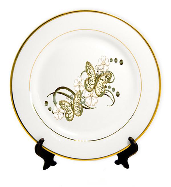 Тарелка с Вашим дизайном с золотой каймой, D - 20 см