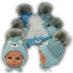 Вязаная шапочка на завязках для новорожденных, р. 36-38, Grans (Польша), утеплитель Softi Term, N116STp