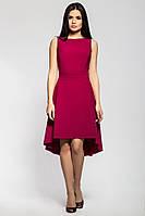 Изящное платье с ассиметричной юбкой цвета марсала, фото 1