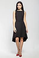 Оригинальное коктейльное черное платье из крепа, фото 1