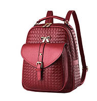Рюкзак женский городской с бантиком (красный), фото 1