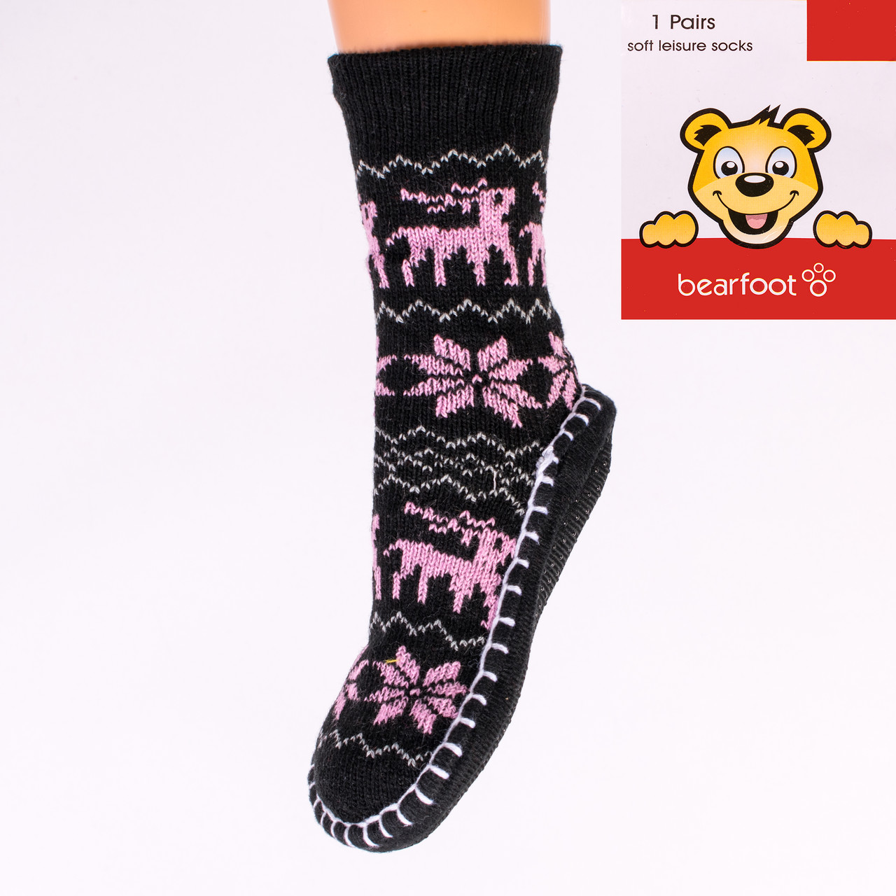 Тёплыедетскиетапочки-носки с тормозами Bearfoot 2018-2 6-7