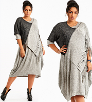 Модный женский ангоровый комплект- платье +пончо с бахромой