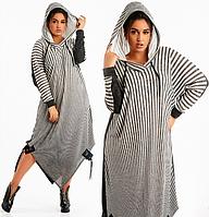 Модное женское ангоровое теплое платье большого размера двухцветное в полоску с капюшоном