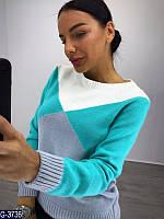 Стильный женский свитер. Бирюза+серый. Арт-12450