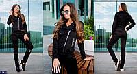 Стильный черный декорирован молниями отделочными элементами женский спорт костюм искусственный замшАрт-15172