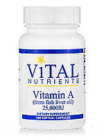 Vitamin A (from Fish Liver Oil) 25,000 IU, 100 Softgel Capsules, фото 1