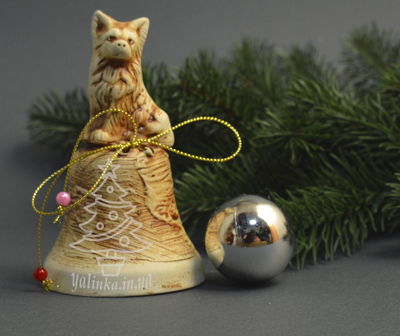 Новогодний сувенир колокольчик с собакой 1749