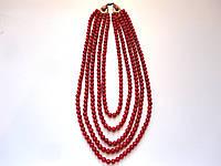 Ожерелье керамическое красное