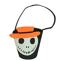 "Ведро для конфет на хэллоуин ""Череп""- декорация на хэллоуин"