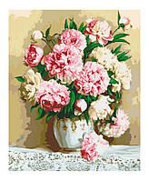 """Картина раскраска по номерам """"Нежно-розовые пионы"""" набор для рисования"""